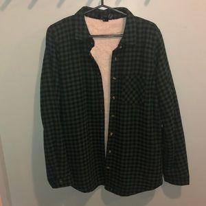 Sherpa lined green flannel